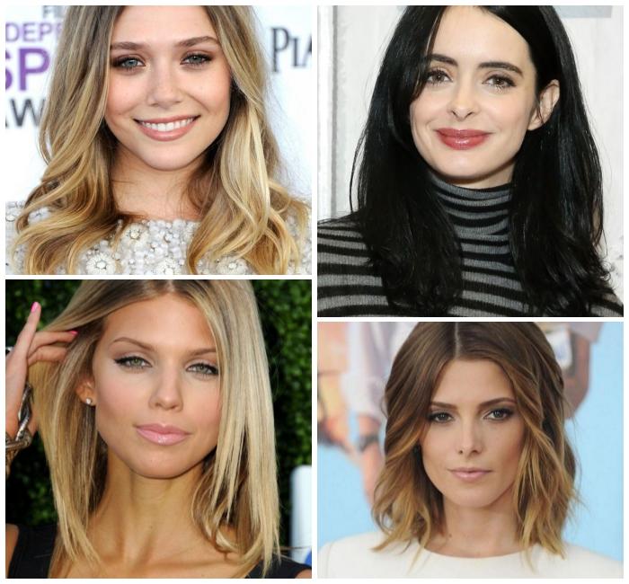 frisuren mitellanges haar, schwarze haare, haarstyle nach der gesichtsform auswählen
