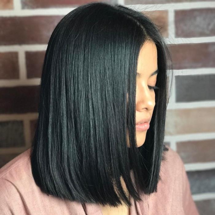 frisuren mittellanges haar, schwarze glatte haare, langer bob, lob