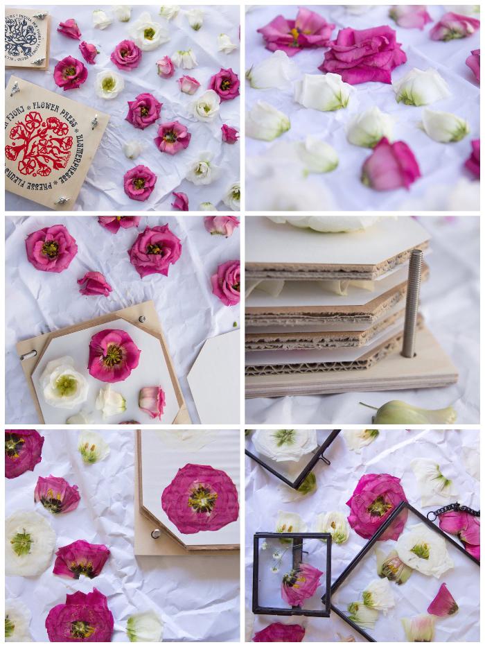 frühlingsdeko basteln, blumen trocknen lassen, florale bilder machen, geschenk für mutti
