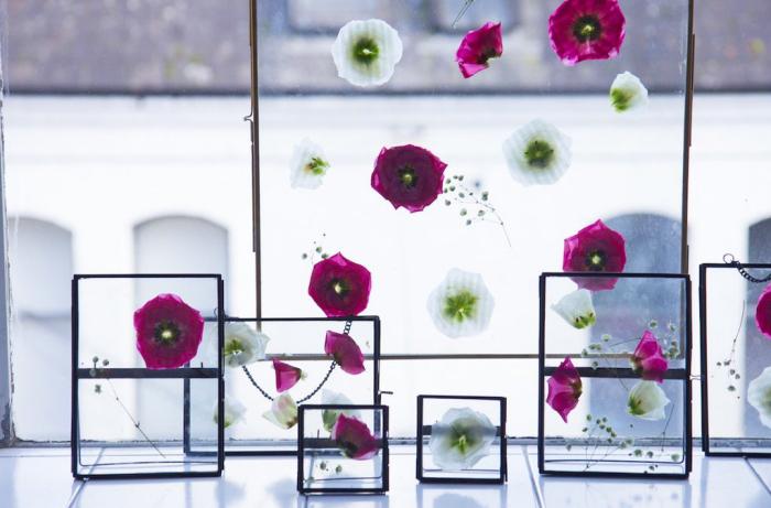 frühlingsdeko basteln, rosa und weiße blumen, florale bilder, diy anleitung, diy geschenke
