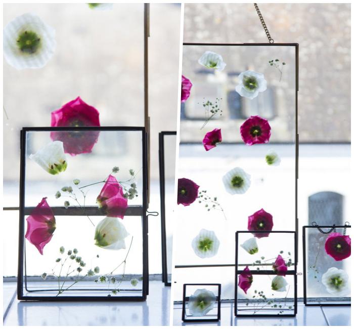 frühlingsdeko basteln, florale bilder selber machen, getrocknete blumen, muttertagsgeschenk ideen