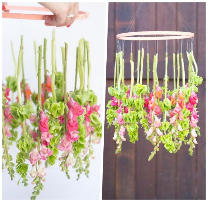 frühlingsdeko basteln mit naturmaterialien, mobile aus holzrahmen und frühlingsblumen