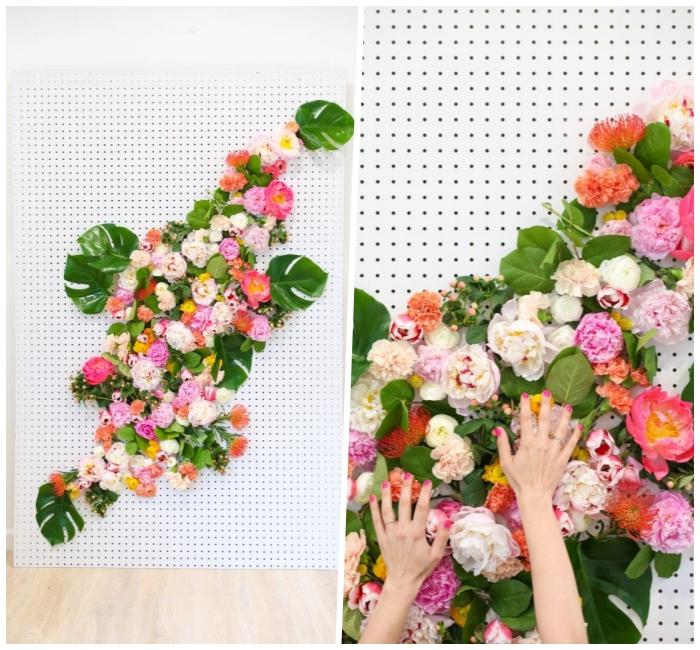frühlingsdeko basteln mit naturmaterialien, selsbtgemachte wanddeko mit blumen, florales bild