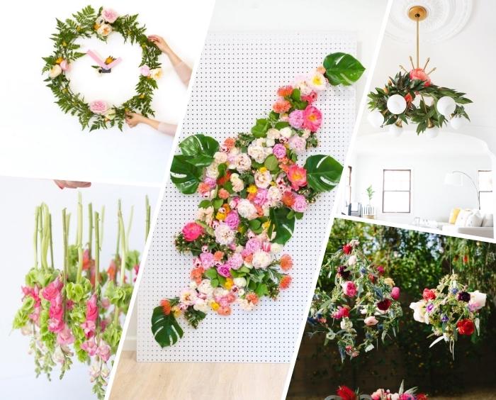 frühlingsdeko basteln mit naturmaterialien, wanduhr aus laub und blumen, florales bild, geoemtrische deko für den garten, partydeko