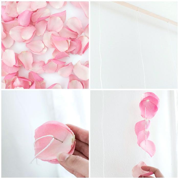 frühlingsdeko basteln, wanddeko selber machen aus rosenblättern, wand dekoration, party