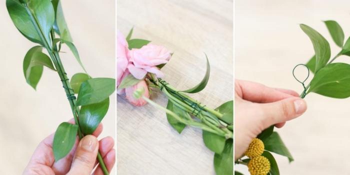 frühlingsdeko selber machen, diy girlande aus grünen blättern und rosa blumen, anleitung
