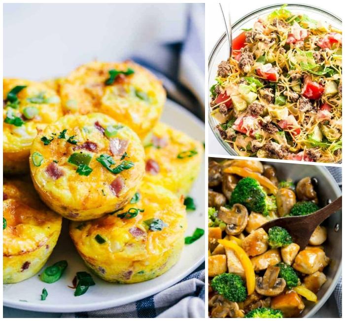 frühstück ohne kohlenhydrate, salzige muffins aus eiern und schinken, hühnerbrust mit sojasoße und brokkoli