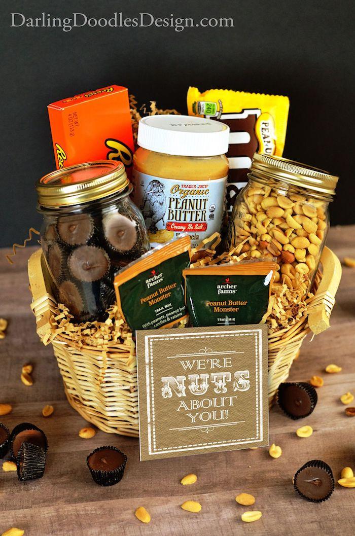 Geschenkkorb zum Vatertag schenken, Korb voll mit Köstlichkeiten, Schokolade Nüsse und Bonbons