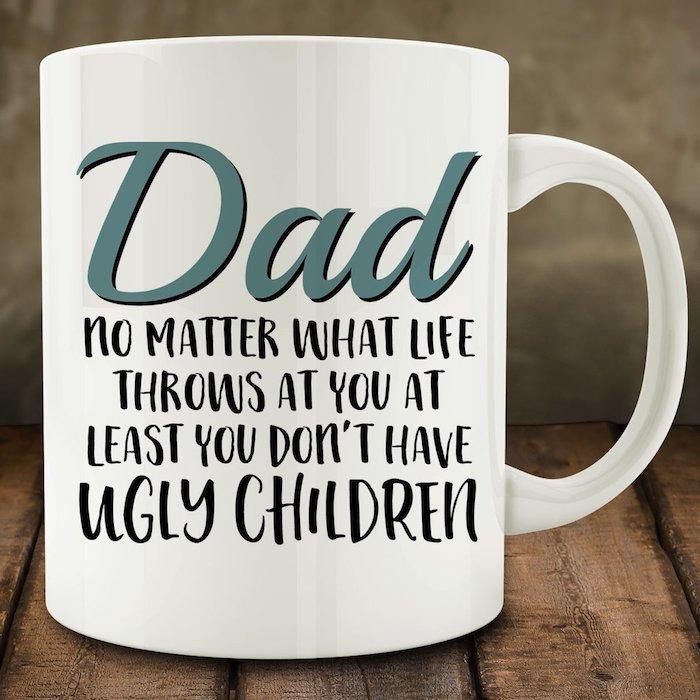 Weiße Teetasse mit lustiger Aufschrift, Geschenk zum Vatertag, Ideen für personalisierte Geschenke