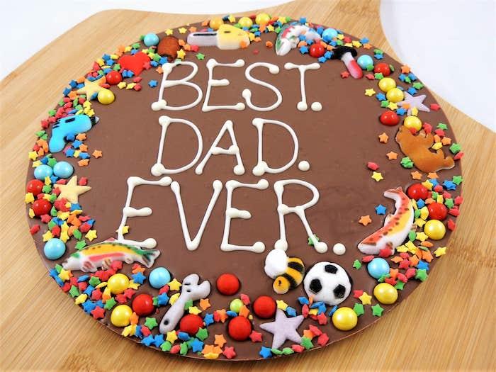 Schokoladentorte zum Vatertag selber backen und dekorieren, bester Vater der Welt