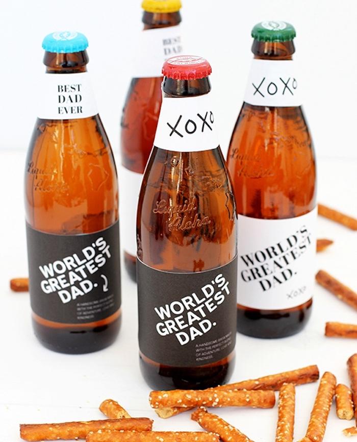Bier mit personalisierter Etikette zum Vatertag schenken, Geschenk für den besten Vater der Welt