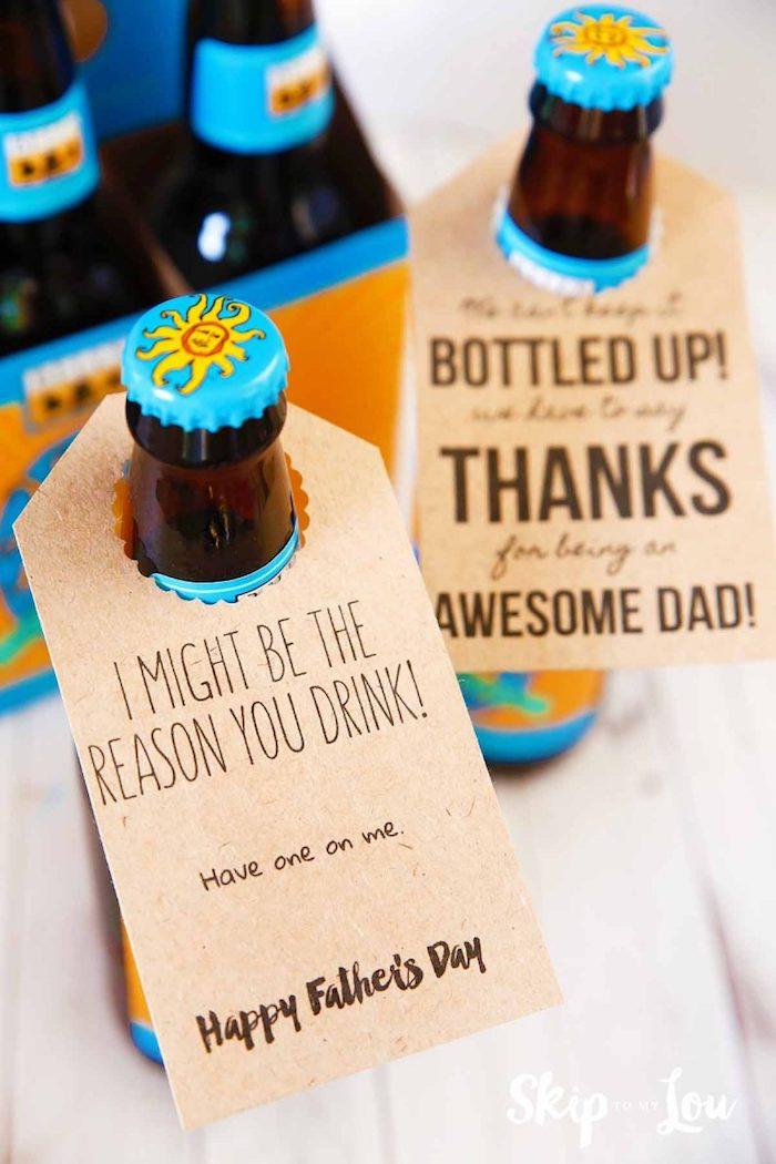 Bier mit personalisierter Etikette zum Vatertag schenken, mit lustiger Botschaft