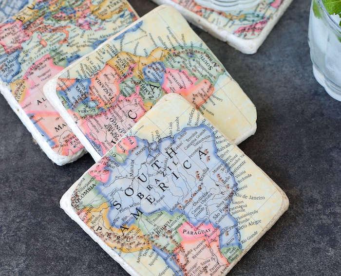 DIY Untersetzer für Becher mit Weltkarte, Geschenk zum Vatertag selber machen