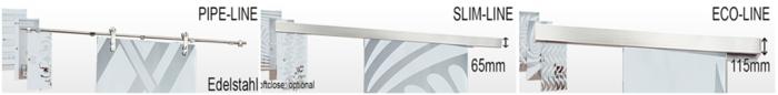 die drei Linien von Glasschiebetüren, Pipe Line, Slim Line und Eco Line, Glastuershop24