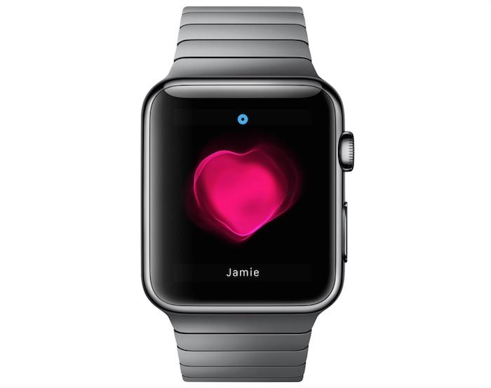 eine graue uhr mit einem schwarzen bildschirm und mit einem großen pinken herzen, eine apple smartwatch