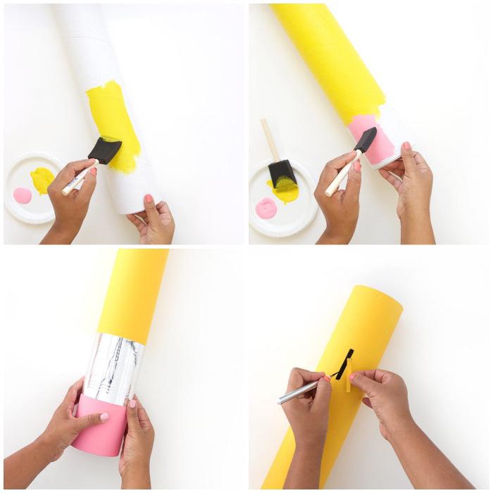 große spardose selber machen, bleistift aus pappe mit gelber und rosa farbe dekorieren