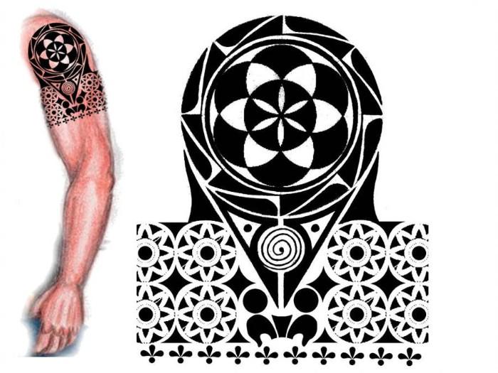 lebensblume tattoo vorlage und gezeigt auf dem arm eines mannes gemalen