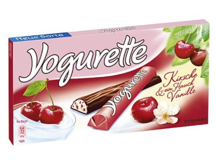 joghurette sorten ideen, kirsche anstelle von erdbeeren, yogurt creme schokolade mit vanille