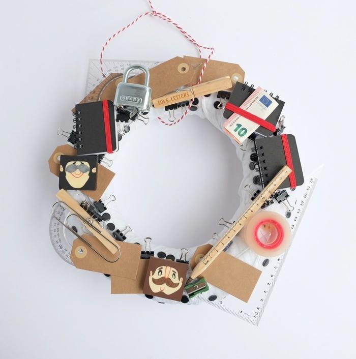Kreatives Geschenk zum Vatertag selber machen, Kranz aus unterschiedlichen Werkzeugen