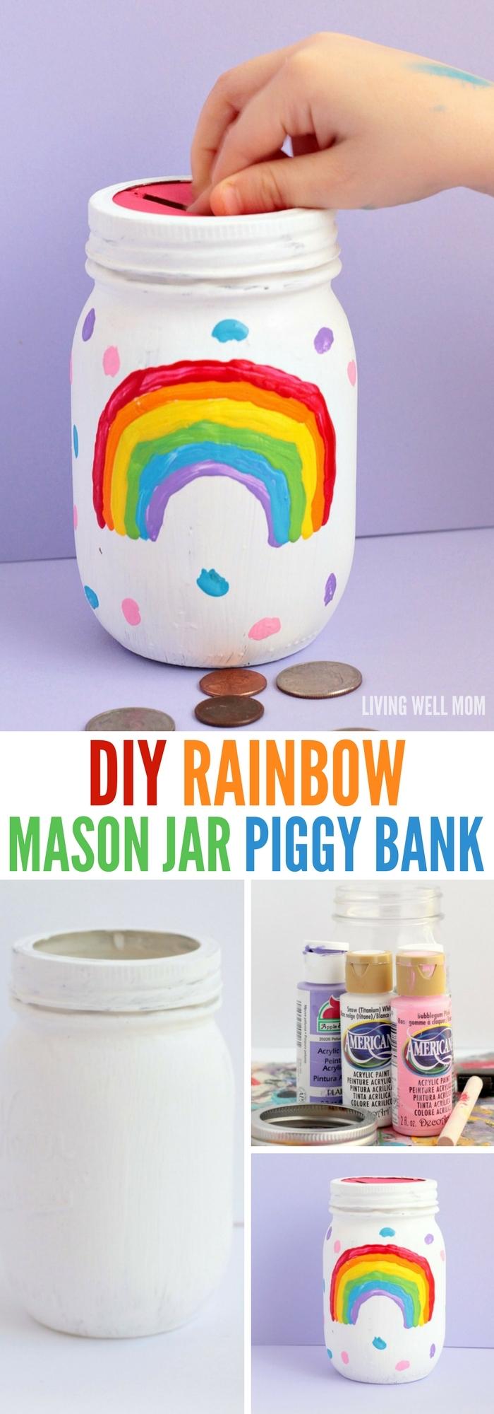 kinderspardose aus einmachgläsern basteln, regenbogen malen, geld sparen