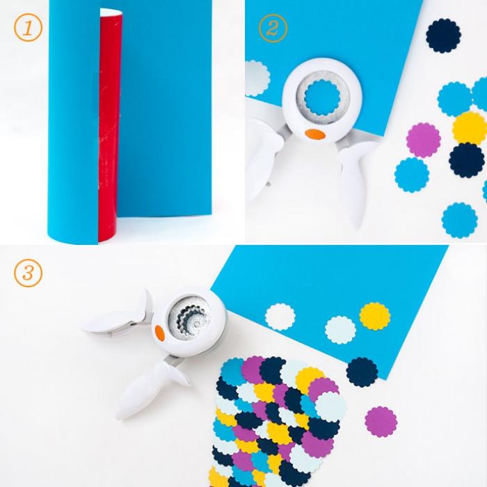 kinderspardose selber machen, papierzylinder mit blauem papier dekorieren, blumen stanzen
