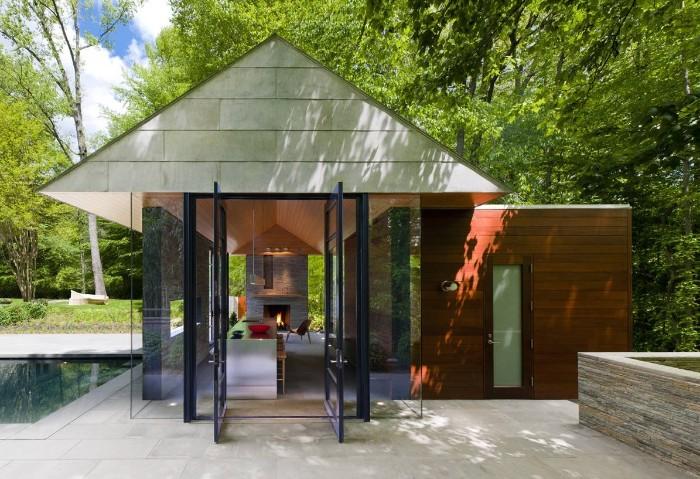 kleine Gartenhäuser, Glaswände, schöne Optik, Look zum Pool, designer Ideen