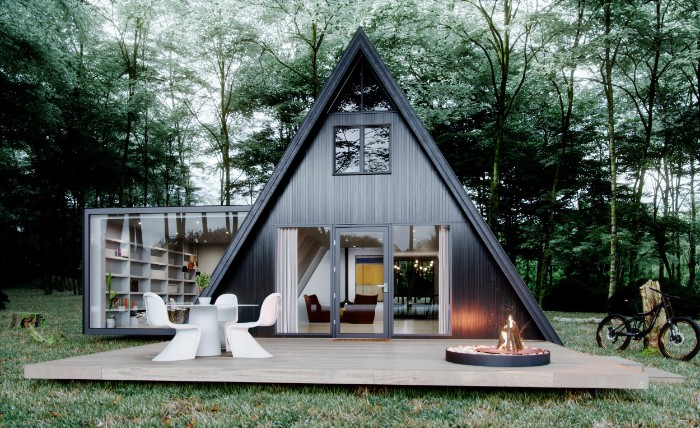 Gartenhaus grau, Echdach, kreative Architektur Idee für Profis, Waldgefühl zu Hause