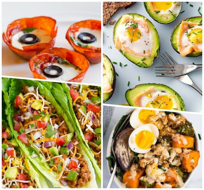 kohlenhydratfreies essen, bakon mit eier und oliven, avocado mit schinken, kaloraienarme tacos mit gemüse