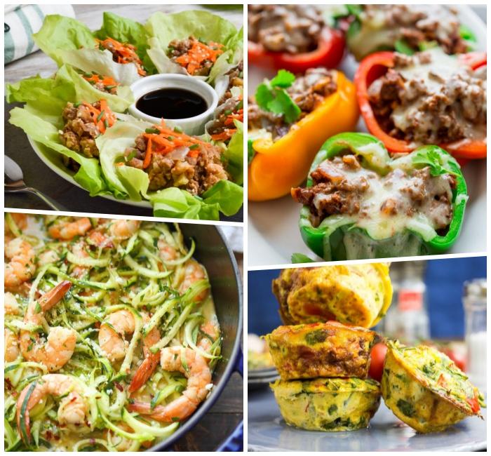 kohlenhydratfreies essen, rezepte kochen ohne kohlenhydrate, low carb gerichte, garnelen mit zucchini, paprika mit hackfleisch