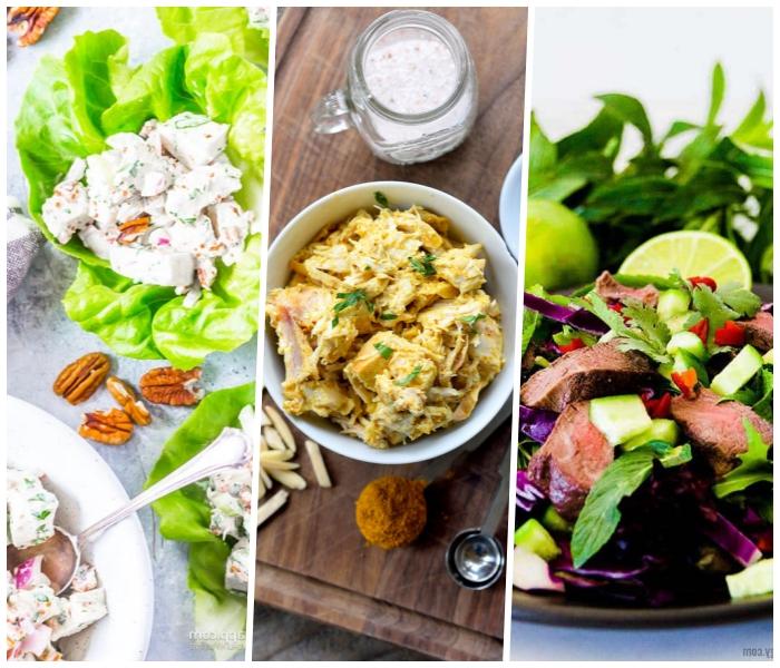 kohlenhydratfreies essen, salat mit fleisch und soße,grüne salatblätter, weiße soße, pekannüsse