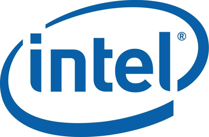 das Logo von Intel, blaue Buchstaben in weißer Hintergrund, Laptop Display