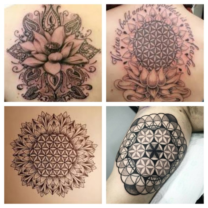 lebensblume tattoo, vier ideen auf einmal gesammelt und gezeigt, ideen zum nachmachen