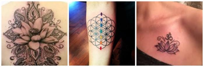 lebensblume tattoo ideen drei designs zum nachmachen, bunte chakra abbildung oder schwarz weiß