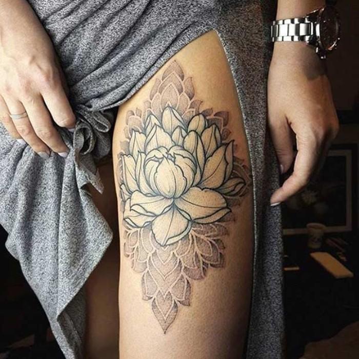 blume des lebens bedeutung ideen, bein tattoo blume, ein kleid, armbanduhr, nägel design ideen