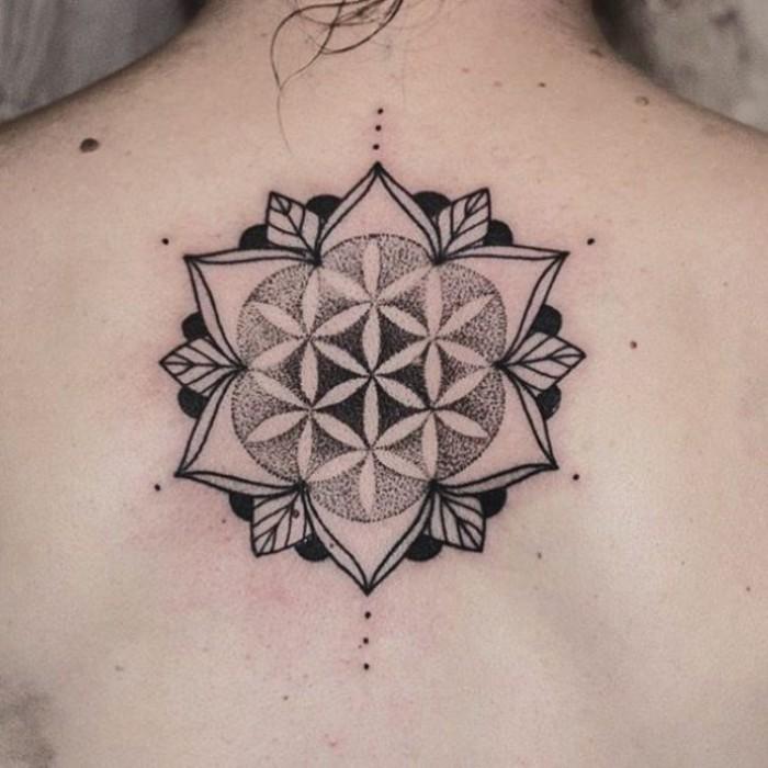 mandala symbole bedeutung bei der verwendung als tattoos, blumen bedeutung, lebensblume