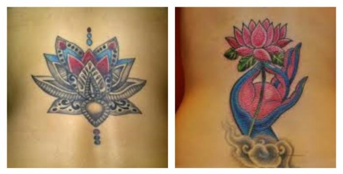 körper tätowieren, tattoos für frauen mit schönen designs ideen zum nachmachen, bunte gestaltungen