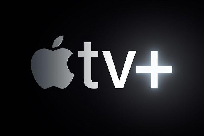 der logo von apple mit einem großen grauen apfel, logo von apple tv plus, neuer streamingdienst von apple