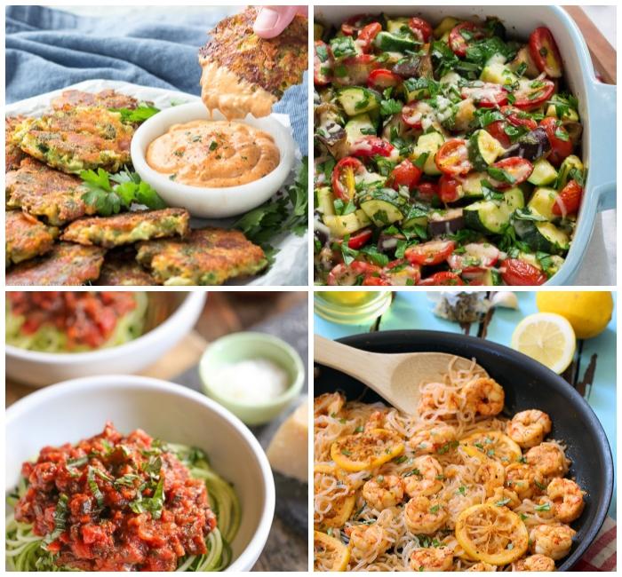 low carb abendessen, zucchini mit tomatensoße, garnelen mit zitrone, kohlenhydratarme ernährung