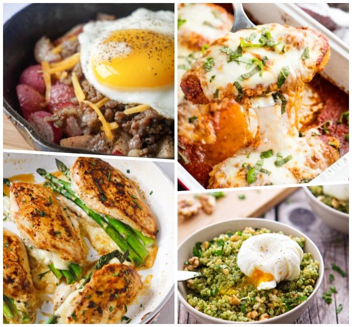 low carb mittagessen, hühnerbrust mit spargeln, und parmesan, salat mit avocado, gerichte ohne kohlenhydrate
