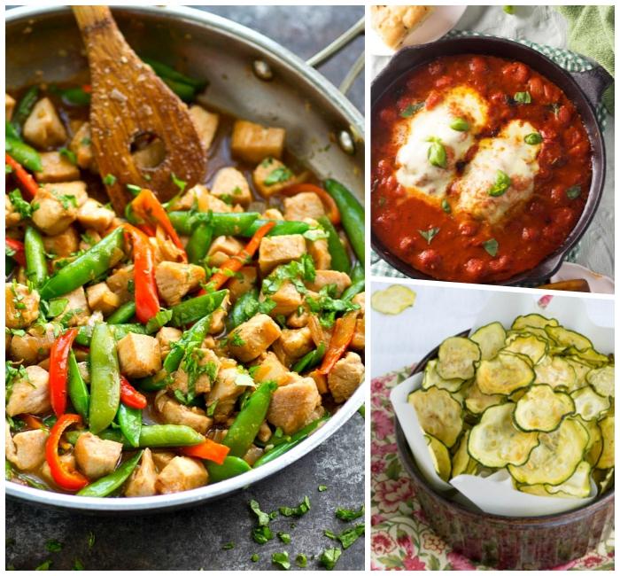 low carb mittagessen, hühnerfleisch mit grünen bohnen und rotem paprika, chips aus zucchini