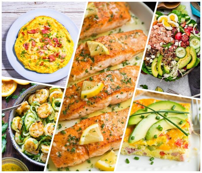 low carb mittagessen ideen, omelette mit tomaten und schinken, lachs mit zitrone, garnelen mit zucchini