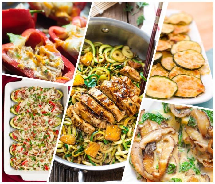 low carb mittagessen ideen, hühnerbrust mit salat aus zucchini, pilzen mit soße, gefüllte paprika
