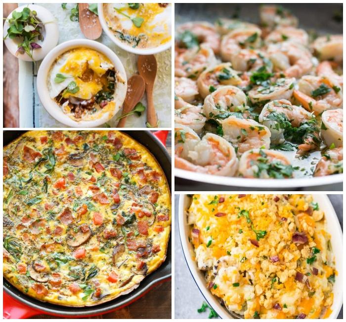 einfache und schnelle rezepte, omelette mit bakon und spinat, garnelen mit zitronen, low carb mittagessen