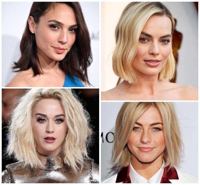 mittellange frisuren für frauen, schulterllange haare mit viel volumen, katty perry, haarfarbe blond