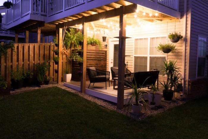 Gartenhaus modern beleuchten, Abend Foto Inspiration für schönes Gartendesign