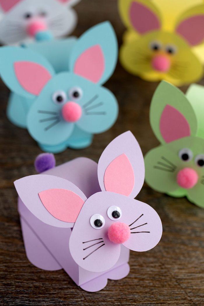 Bunte Osterhasen aus Papier selber machen, Ideen zum Osterbasteln mit Kindern