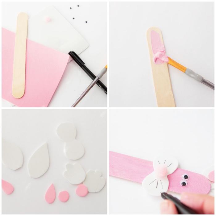 osterbasteln mit kindern, rosa osterhasen aus holzstäbchen mit ohren und gesicht aus fizlstoff