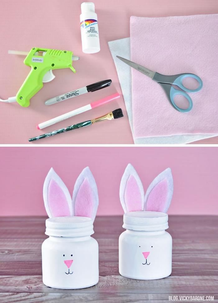Osterhasen aus Einmachgläsern mit Ohren aus Filz, DIY Idee für Kleinkinder zu Ostern