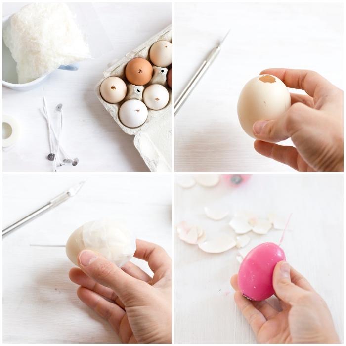 kerzen gießen, diy anleitung, rosa bienenwachs, osterdeko selber basteln, eierschalen