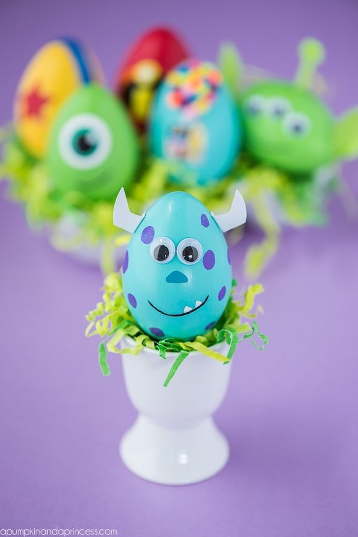 Blaues Monster Osterei, Ostereier mit Kindern färben, Disney Ostereier zum Inspirieren